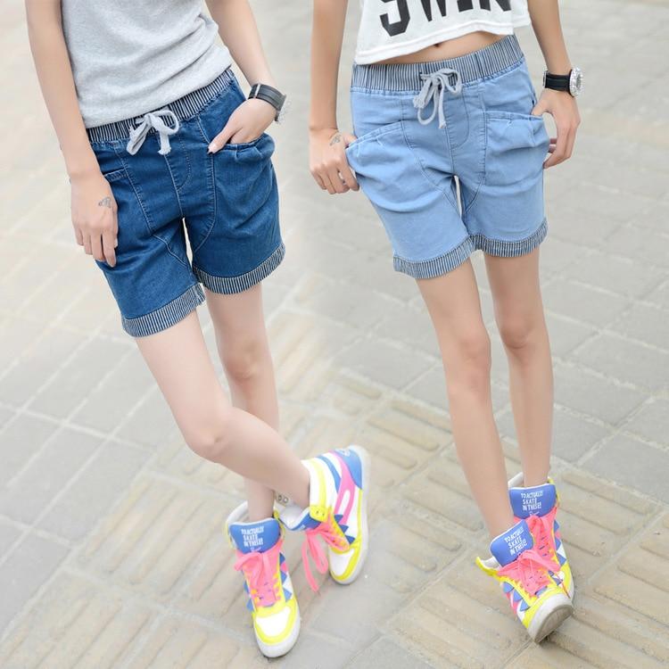 2016 new denim shorts female summer College Wind High Waist Women Blue elastic waist harem Plus size Lady jeans Shorts Z2173