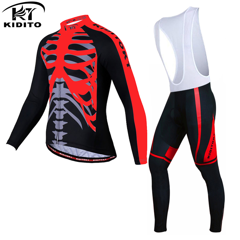 KIDITOKT Pro Long Sleeve Cycling Jerseys Set MTB Bicycle Clothes Uniformes De Ciclismo Hombre Racing Bike Wear Clothing For Mans