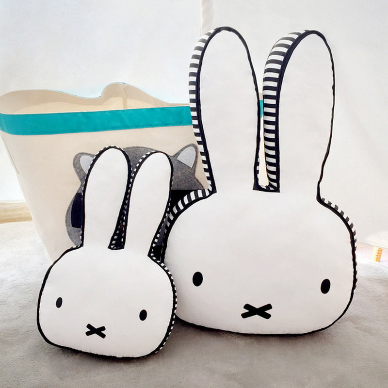 Ins hot Black and White Rabbit Face Plush Pillow Dog Milk Baby Bottle Plush Cushion Emoj ...