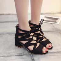 Women Fashion Female Sandals Summer Faux Suede Women S Ankle Square High Heel Shoes High Heels
