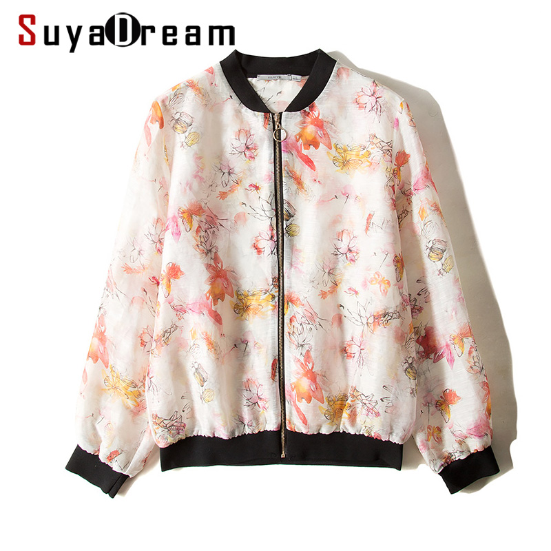 Women Jacket 50 Mulberry Silk 50 Linen Casual Zipper Floral Printed Jackets 2018 Fall Winter New