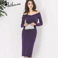 Women Plus Size Pencil Midi Dress Purple Long Sleeve Slash Neck Elegant Party Dress Autumn Office Lady Bandage Dresses Vestidos