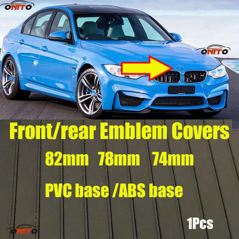 Diseño del coche 1 Uds. 82mm 74mm 78mm campana delantera emblema del maletero trasero ABS base negra/PVC base plateada para BMW E60 E90 F10 F30 F15 E6
