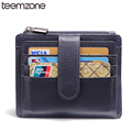 teemzone Hot Sale Women &Men's Zipper Genuine Leather Business Case Wallet Credit Card Holder 7 Cards Hasp Wallet 2 Colors