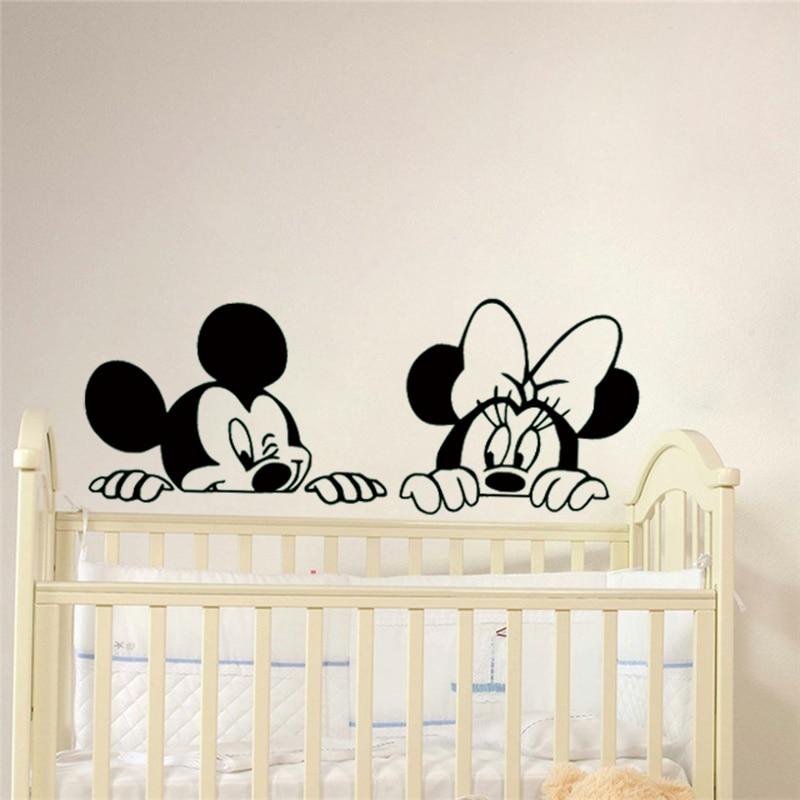 Cartoon Mickey and Minnie Mouse wall art,Cute Animal Vinyl Wall stickers,Baby Room Nursery Decor
