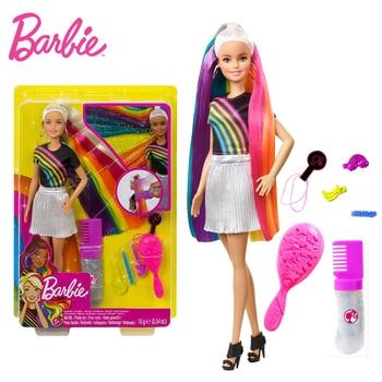 Original Barbie Rainbow Sparkle Hair Doll Colorful Long Hair Toys for Girls Birthday Gifts Genuine Barbie Dolls Children's Toys