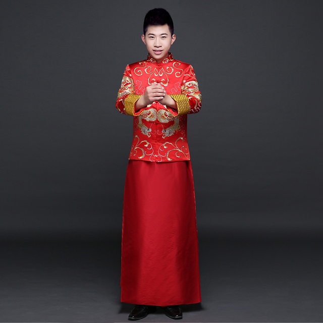 Red groom wedding suit traditional chinese clothes men for Traditional chinese wedding dress hong kong
