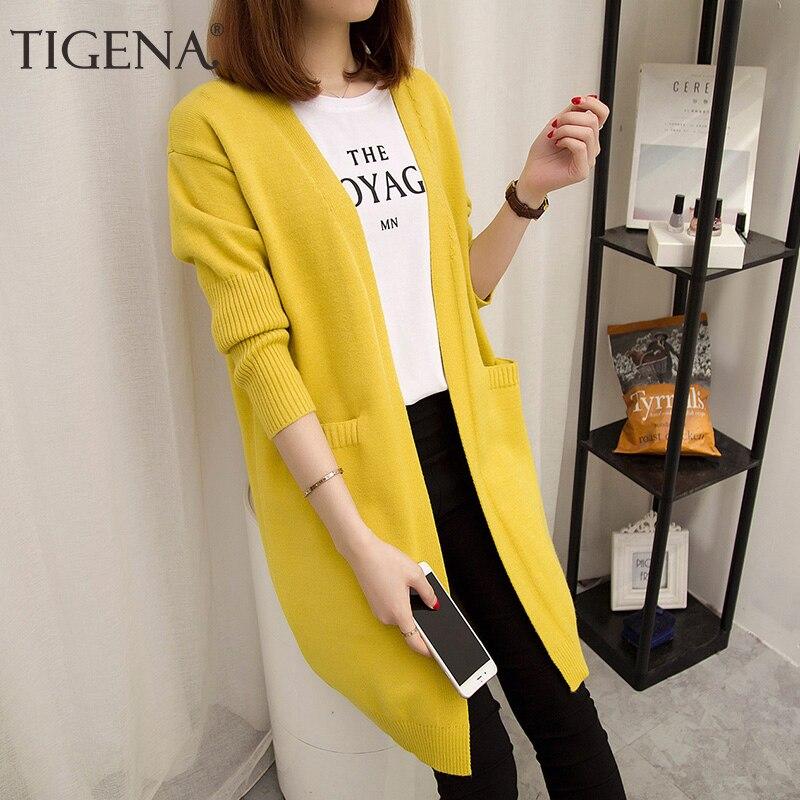 TIGENA Cute Pink Yellow Long Cardigan Women 2019 Autumn Winter Long Sleeve Sweater Cardigan Female Knitted Jacket For Women