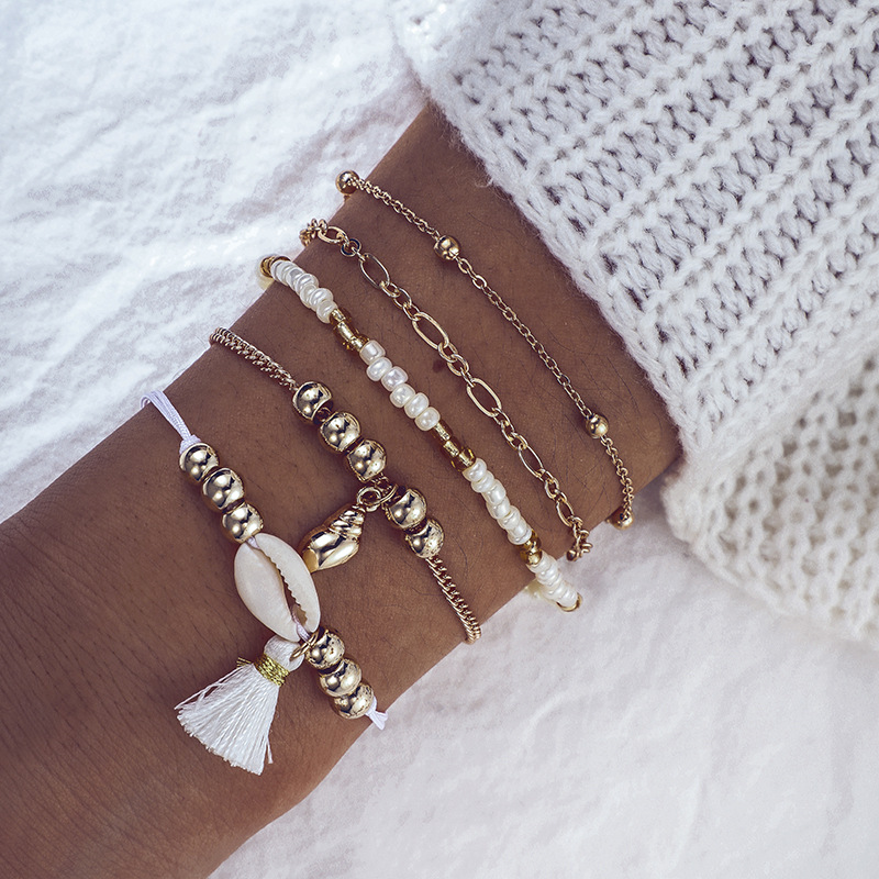 Miss JQ 5 Pcs Bohemian Geometric Conch Seashell Beaded Tassel Bracelets Set Women Handmade Bracelets Bangles Christmas Jewelry in Strand Bracelets from Jewelry Accessories