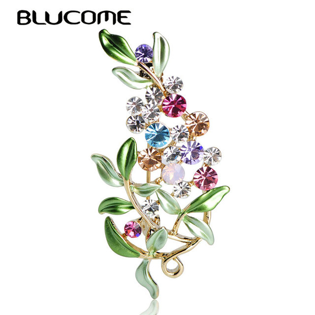 Blucome Flower Brooches For Women Enamel Brooches Jewelry Hijab Pins Austrian Cr