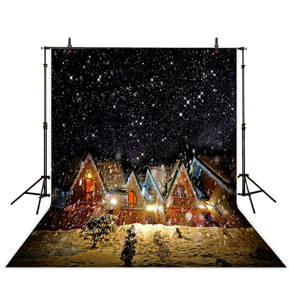 Winter Snow New Year House Village Tree Snowflake photo backdrop Vinyl cloth Computer printed christmas  Backgrounds for sale
