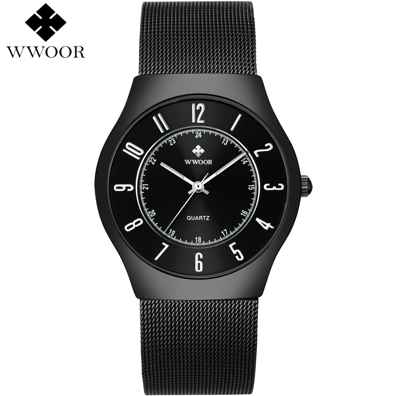 WWOOR Men Watch Ultra Thin 50M Waterproof Watches Men Top Brand Luxury Quartz Wristwatch Mens Male Clock Relogio Masculino nakzen men watches top brand luxury clock male stainless steel casual quartz watch mens sports wristwatch relogio masculino
