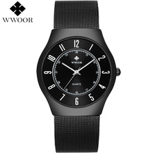 купить WWOOR Men Watch Ultra Thin 50M Waterproof Watches Men Top Brand Luxury Quartz Wristwatch Mens Male Clock Relogio Masculino дешево