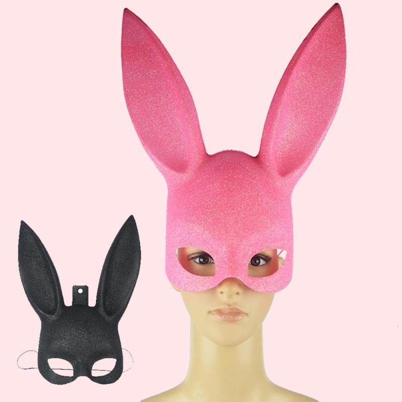 1Pcs Masquerade Rabbit Mask Sexy Bondage Bunny Long Ears Carnival Halloween Costume Party Gift X#ET