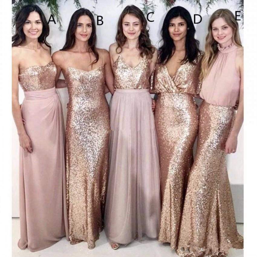 Modest Blush Pink   Bridesmaid     Dresses   Beach Wedding with Rose Gold Sequin Wedding Gowns Women Party Formal Wear Maid of Honor Dr