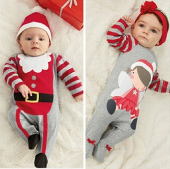 Christmas Gifts Baby rompers 2016 One-piece Costumes kids long sleeve spring autumn baby wear clothing set top+headband or hat