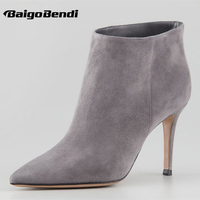 New Trendy Womens Suede Leather Sexy Pointy Toe Pull On OL High Heels Ankle Boots Winter