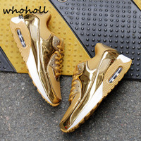 WHOHOLL 2017 Man Running Shoes Couple Sports Air Mesh Shoes Breathable Golden Shoes Black Silver Men