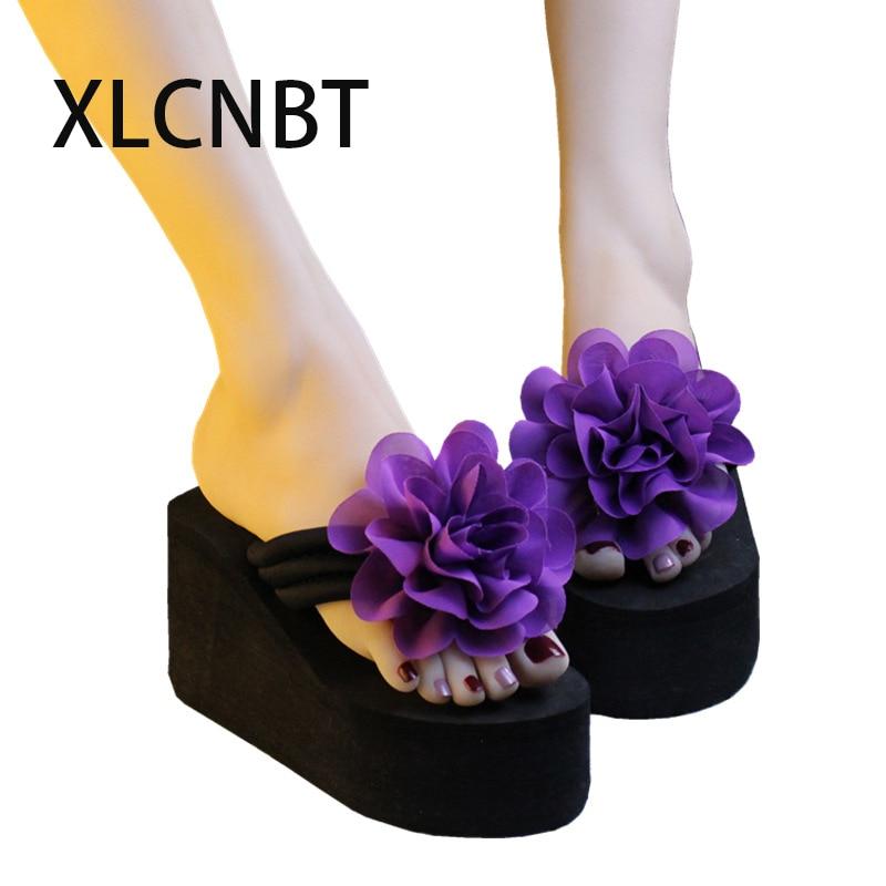 2018 outdoor flip flops women flower high heel slippers wedge flipflops platform beach seaside flop slides shoes woman slipper