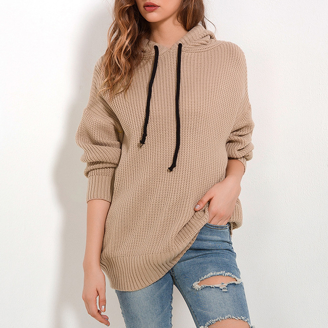 2018 Autumn And Winter Women's Jumper Loose Hooded Sweater Casual Knit Pullover Sweater O Neck Women Tops