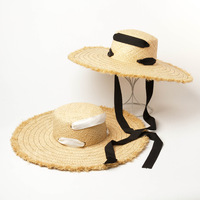 2019 Woman's Sun Hats Summer New Rafi Straw Hat Big Ribbon Bow Floppy Hat Female Hat Summer Women