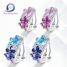 Фотография Merthus Cluster Flower Natural Blue Topaz 925 Sterling Silver Earrings