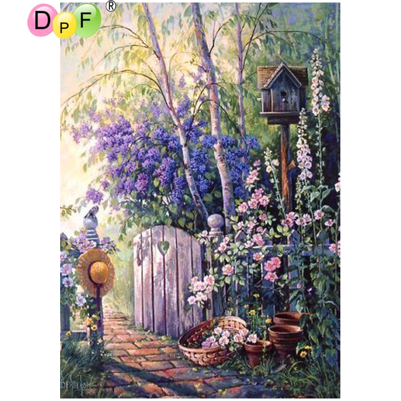 DPF DIY Garden 5D Diamond Painting Cross Stitch Diamond Embroidery Diamond Mosaic Full Square Wall Painting Crafts Home Decor