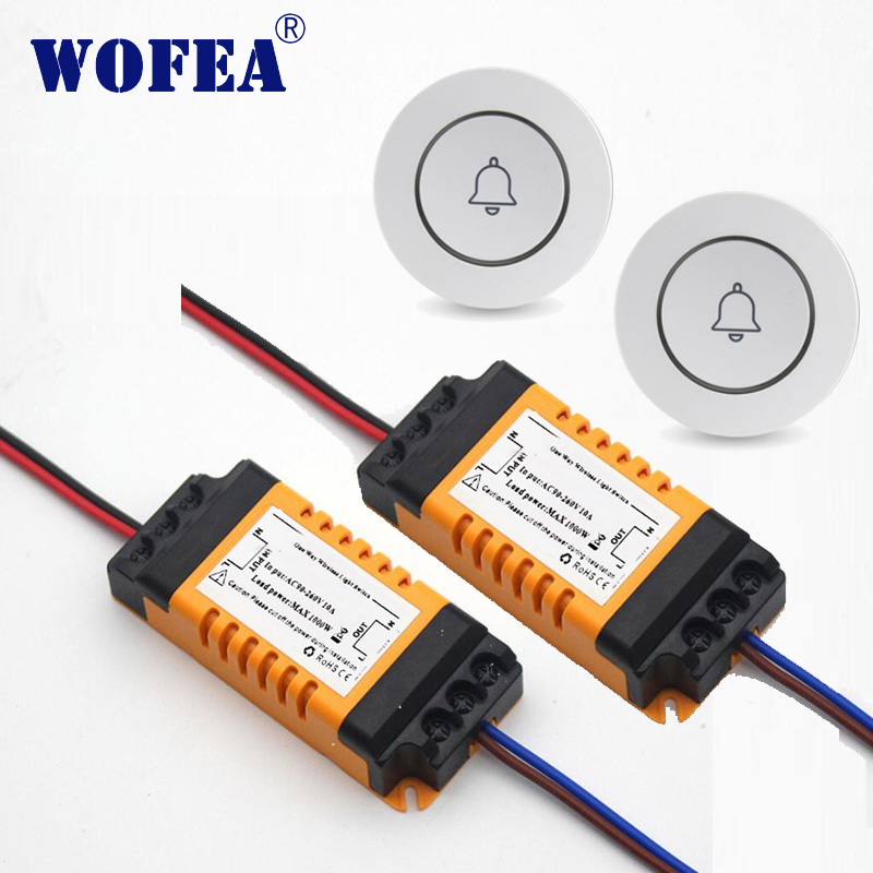Wofea Bed Room Lamp LED Bulb AC 110V- 220V Wall Transmitter Wireless Light Switch Remote Control Switch