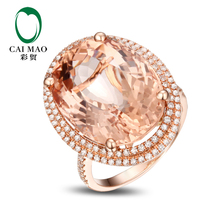CaiMao 14KT/585 Rose Gold 15.30 ct Natural Morganite & 0.54 ct Round Cut Diamond Engagement Gemstone Ring Jewelry
