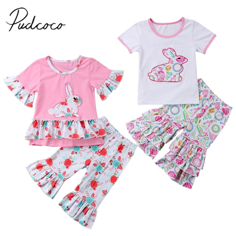 2018 Brand New Newborn Toddler Infant Child Kids Baby Girls Outfit Easter Tops Ruffled T-shirt Pants Leggings 2Pcs Clothes Set