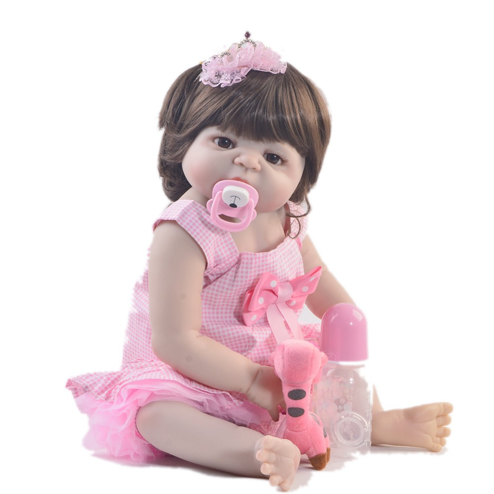 57cm Full Silicone Body Vinyl Reborn Girl Lifelike Baby lol bebe Doll Newborn Princess Toddler Toy Bonecas bathe Birthday Gift
