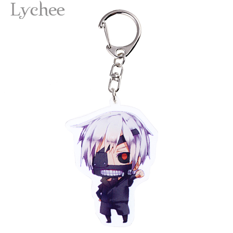 Lychee Trendy Acrylic Anime Tokyo Ghoul Key Chains Cartoon Character Transparent Key Chains Jewelry for Men Women