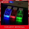 YUFANYF 2017 pendrive 3 cores Vermelho/azul/verde LEVOU Toyota LOGOTIPO do carro falsh USB drive 4 GB 8 GB 16 GB 32 GB U Disco de cristal presente