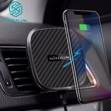 Rápido qi sem fio carregador de carro para o iphone xs max xr x 8 plus nillkin veículo magnético montar carregamento para samsung nota 9 8 s9 s8