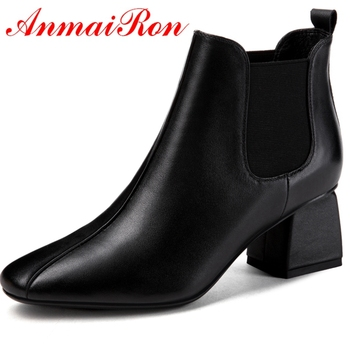 ANMAIRON  Basic  Round Toe  Women Winter Shoes  Slip-On Ankle Boots  Womens Winter Fashion 2018 Size 34-39 LY180