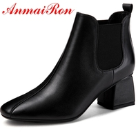ANMAIRON Basic Round Toe Women Winter Shoes Slip On Ankle Boots Womens Winter Fashion 2018 Size 34 39 LY180