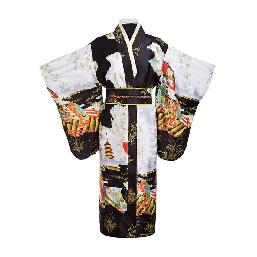Black Woman Lady Japanese Tradition Yukata Kimono Bath Robe Gown With Obi Flower Vintage Evening Party Dress Cosplay Costume