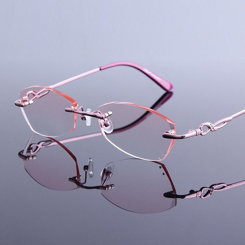 Lesebrille Reflektierende Randlose Neue Linse Hohe Strass Designer Frauen Klare Rezept Brillen Anti Beschichtung fUvvq6Ew