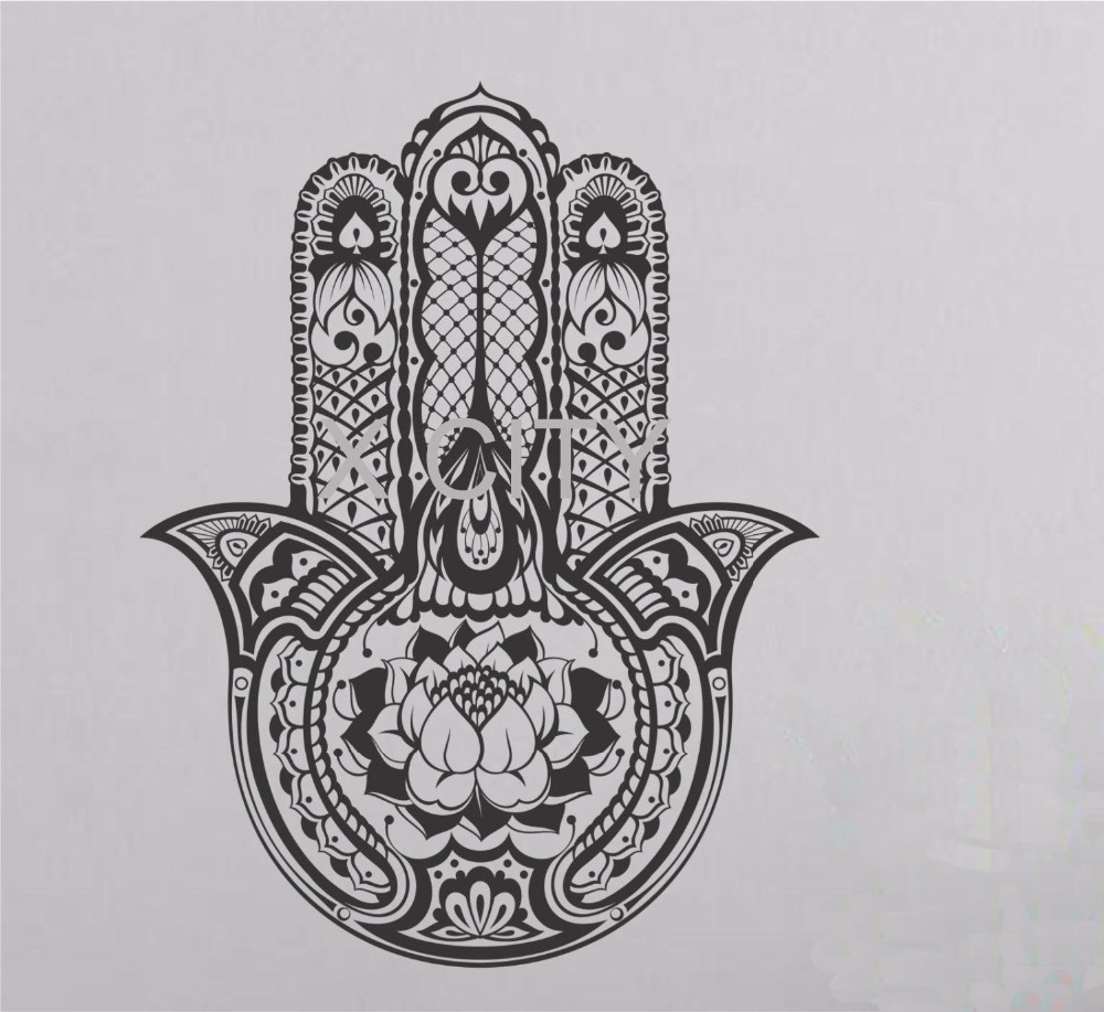 Hamsa Hand Wall Decal Vinyl Sticker Art Decor Eye Indian Buddha Yoga Fatima OM Mandala Ganesh Lotus Namaste In Stickers From Home Garden On