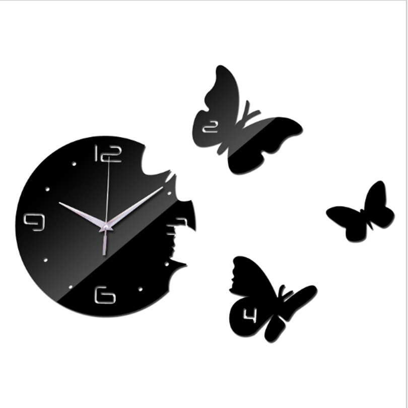 3 Butterfly Mirror Wall Clocks Self Adhesive Stickers Digital Clock Modern Design Living Room Watches