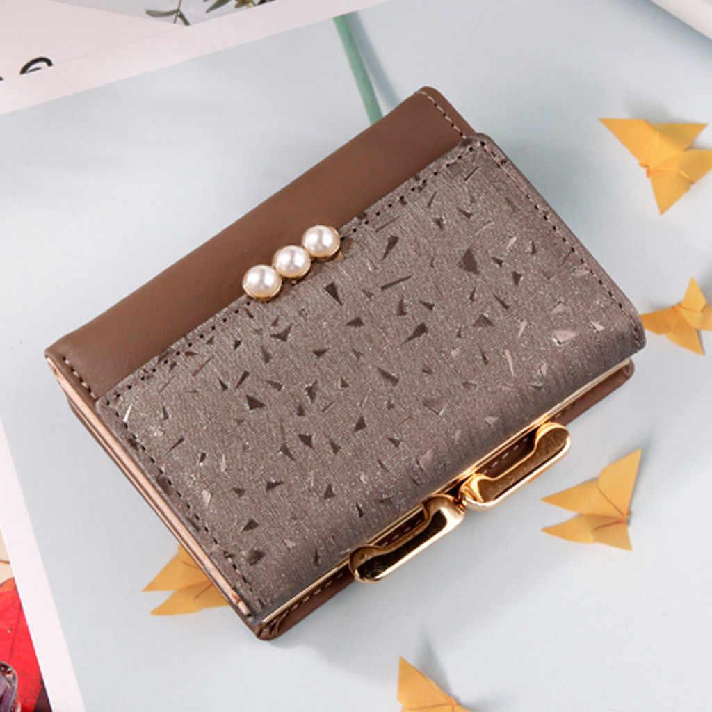 Aelicy frauen Brieftasche Tri-Falten Perle Geldbörse Persönliche ID Karte Halter Zipper Geldbörse Hohe Qualität Leder brieftasche Schlank