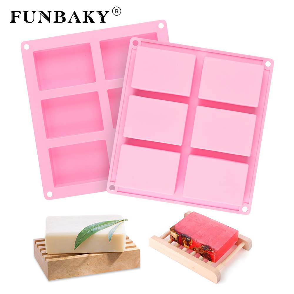 FUNBAKY 3D Silicone Soap Molds Handmade RectangularMoldFor Soap Making 6 Loaf Forms Cube