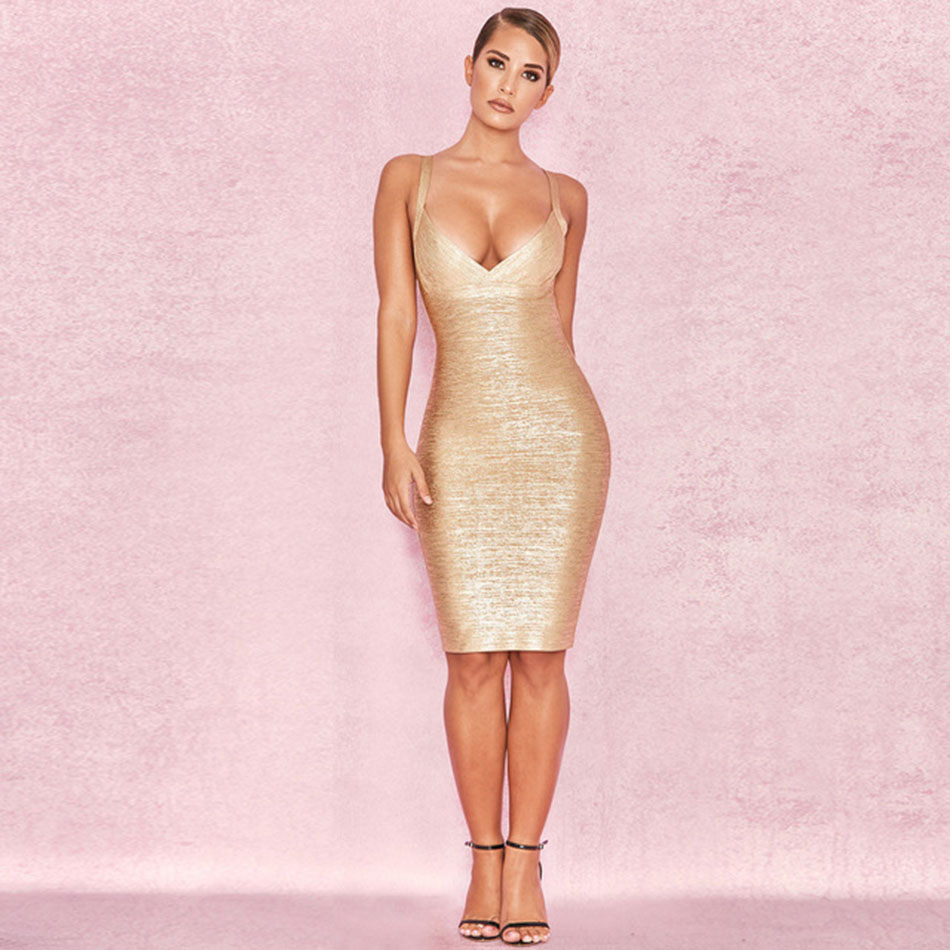 Clubwear Sexy sans manches feuille d'or genou longueur moulante robe femme Spaghetti sangle dos nu mince élégance gaine robes