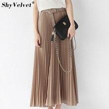 Long Pleated Skirts Womens Chiffon Elastic Waist Summer All Match Solid Tulle Maxi Skirt With Belt Faldas Khaki Black Pink