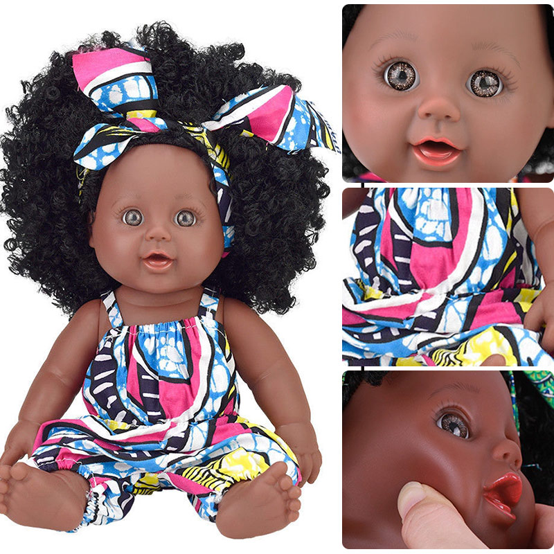 USA black Afro hair black doll reborn toys reborn 30cm real dolls for girls alive silicone poupee African baby doll