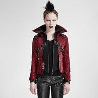 Готический Винтаж Для женщин воротник стойка короткая кожаная Пальто для будущих мам осень зима красные, черные с в стиле панк рок Куртки оч