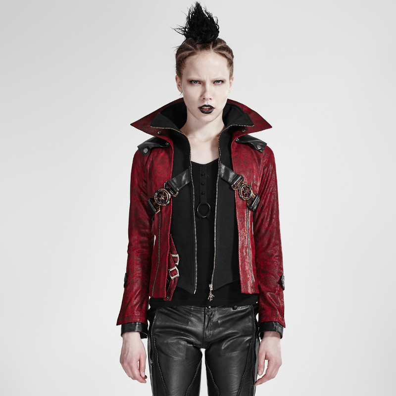 Gothic Vintage font b Women b font Stand Collar Short Leather Coats Autumn Winter Red Black
