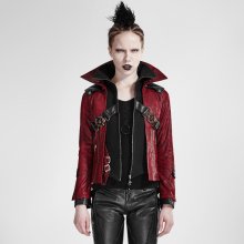 Gothic Vintage Women Stand Collar Short Leather Coats Autumn Winter Red Black Spliced Rock Punk Jackets Super Cool Outerwear