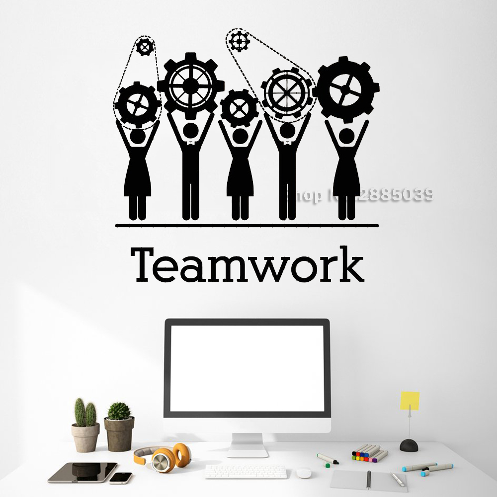 Creativity Teamwork Gears Wall Decals Office Decor Unique Stickers Commerce Room Wall Sticker DIY Removable Art Wallpaper LC516