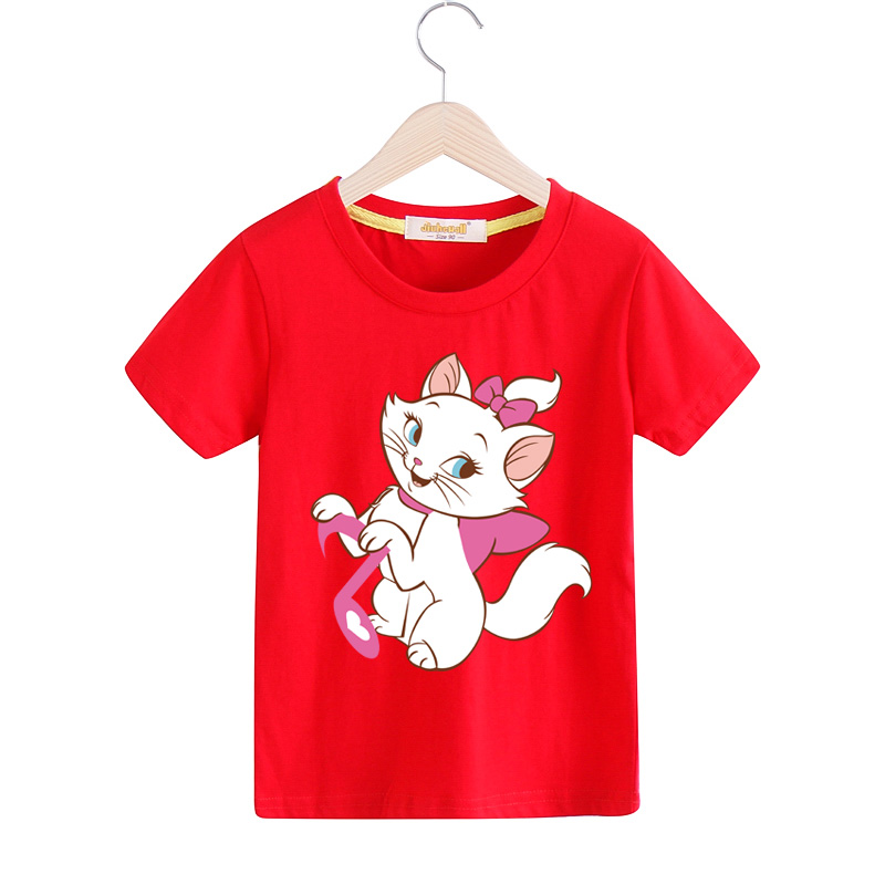 Boy Girl New Marie Cat Tee Tops Clothes Children Summer 100%Cotton T Shirt For Kids Short Sleeves T-shirt Baby Clothing TX036 2017 baby new batman printing clothes boy cartoon t shirt girl 9 colors t shirt children short sleeve tee tops for kids acy031